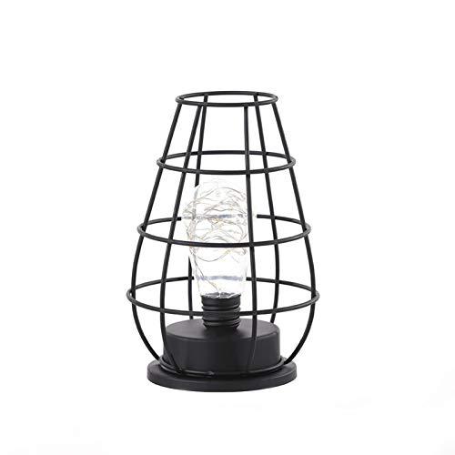 QIEZI Lámpara de Mesa Industrial, Botella de Vino de Hierro, lámpara de Mesa de Escritorio forjada Vintage, clásica y Elegante, Resistente, Bombilla incluida, lámpara de mesita de Noche Vintage