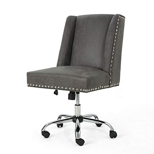 Christopher Knight Home Quentin Desk Chair, Slate + Chrome