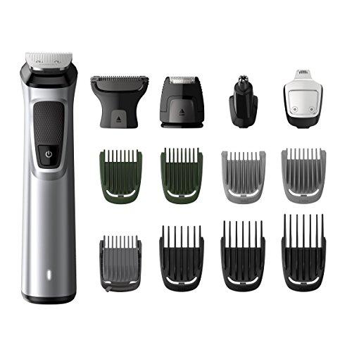 Philips MG7720/18 Recortadora 14 en 1 Maquina recortadora de barba y Cortapelos para hombre, óptima precisión, tecnología Dualcut, autonomía de 120 minutos, batería, Plata