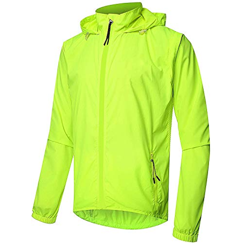 Beylore Fahrradjacke Herren Sommer Wasserdicht Atmungsaktiv Reflektierend Winddicht Lang Jacken Weste Sportjacke Laufjacke Fahrradbekleidung,Grün,4XL