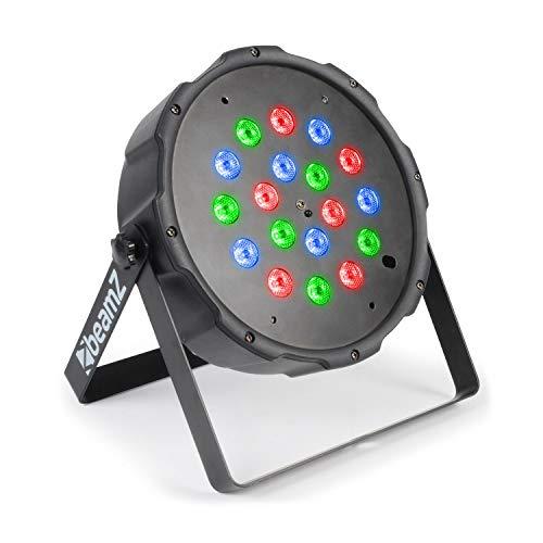 BeamZ FlatPAR 118B 18 x 1W PAR-Strahler - 18 x 1 W RGB LED (je 6 x Rot, Grün, Blau), 6 DMX-Kanäle, Stroboskop, elektr. Dimmer, Betriebszeit Batterie: bis 3,5 h, inkl. IR-Fernbedienung