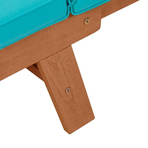 greemotion Multifunktionsbank Borkum akazie/blau, inklusive Kissen, als Sofa und Liege nutzbar, Gartenbank aus FSC® Akazienholz, Holzbank mit leicht schräger Rückenlehne - 10