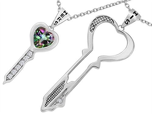 Heart Shaped His and Hers Key to My Heart Necklaces