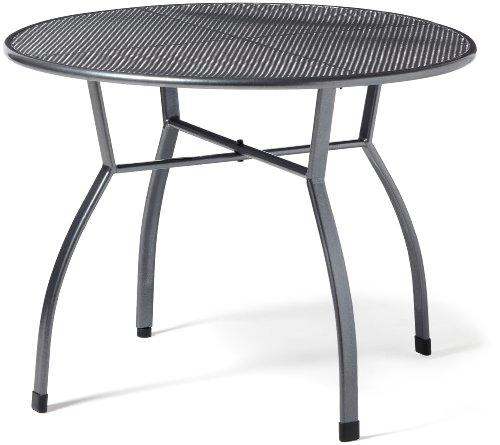greemotion Gartentisch Toulouse rund, Ø ca.100 cm, pflegeleichter Tisch aus kunststoffummanteltem Stahl, Esstisch mit Niveauregulierung, eisengrau, 100 x 100 x 72 cm, 100 cm l x 100 cm b x 72 cm h