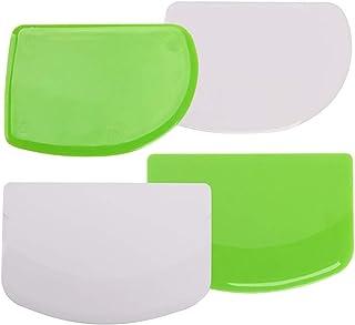 Dough & Bowl Scrapers Set - Plastic Dough Cutters - Multipurpose Kitchen Scrapers - Dough Scraper Plastics, Curved and Str...