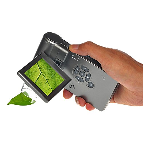 Mustcam 5M Handheld Mobile LCD Digital Microscope with 1200x magnification, Micro-SD Storage, Photo and Video Capture, Measurement by Software (Grey)