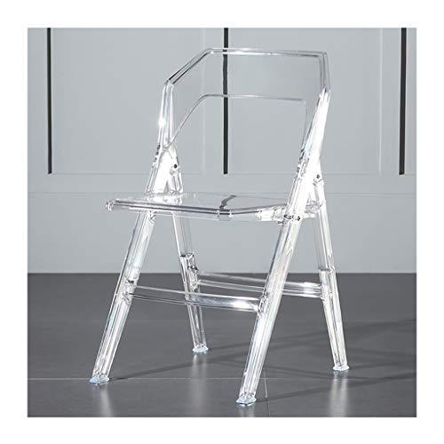 SHYM Transparenter Klappstuhl aus Acryl, tragbarer Kunststoffstuhl mit Rückenlehne, ergonomisches Design, dreieckige Tragstruktur, Starke Tragfähigkeit