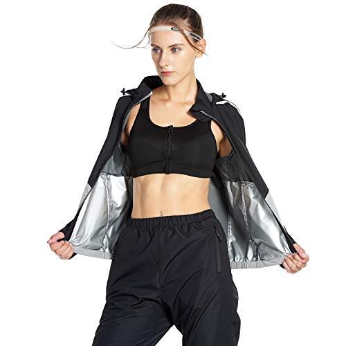 FLYGAGA Schweiss Anzug Sauna Anzug Sauna Suit Schwitzanzug Trainingsanzug Fitnessanzug Damen PVC Fitness Gewichtsverlust (Grau, L)