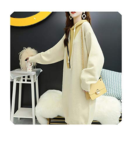FairyLi trui met capuchon jurk oversized lange trui truien breigoed