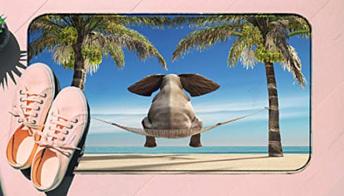 DIIRCYB Fu?Matte Indoor Outdoor rutschfeste waschbare Fu?Matte,An Elephant Sitting In A Hammock On The Beach and Look at Sea This is A 3D Render Illustration,DIY Cropping Teppich,for Home Kitchen Bed