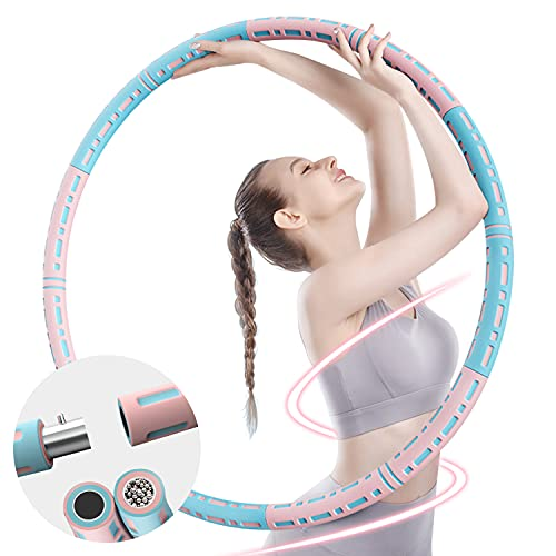 CINBOS Weighted Professional Exercise Hoops for Adults, Workout Hoops with Adjustable Weight 1.6-8.2lb, Detachable Stainless Steel with Soft Foam, Fun Fat Burning Exercise Equipment for Women and Men