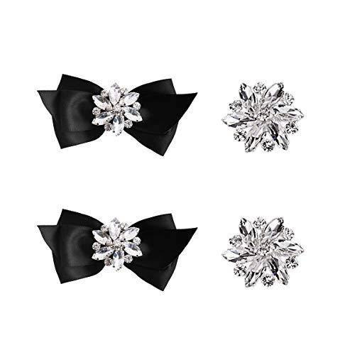 Elegantpark CQ Schleife Design Strass Geschenk Flache Pumps Hochzeit Party Brautschuhe Abendschuhe Schuhe Decoration Accessories Schuhclips 2 Paare Schwarz Silber
