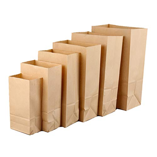 Wonninek Brown Kraft Paper Bags 6.1' x 3.9' x 11.8', Paper Lunch Bags Paper Grocery Bags Fresh Bread Candy Gift Bag Small Vintage Wedding Treat Cafe Party Paper Storage Bag Popcorn Bags (50Pcs)