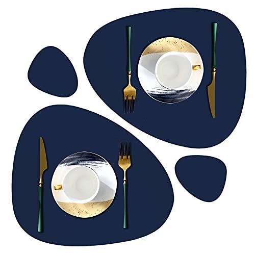 VIVILINEN Lot de 2 Set de Table Antidérapant Tapis de Table Lavable en PVC Résistant à la Chaleur 2 Sets de Table et 2 Dessous de Verre pour Cuisine Restaurant Table à Manger