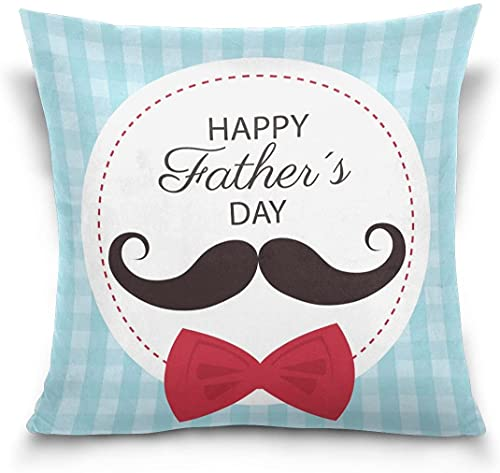 Throw Pillow Case Funda de cojín Decorativa Funda de Almohada Cuadrada, Happy Father's Day Hipster Bigote Sofá Cama Funda de Almohada (18 x 18 Pulgadas)