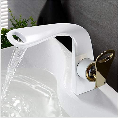 Wastafelarmatuur Faucet_Waterfall wastafel badmeubel antiek zwart monochroom Paint White + Gold