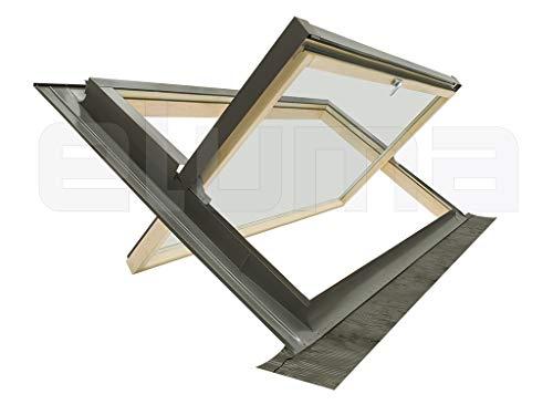 Ventana para tejado (completa) modelo COMFORT BILICO/Certificada y altamente aislante/Made in italy/Vidrio antigranizo + Vidrio de seguridad/Aluminio y Madera (94x55 Base x Altura)