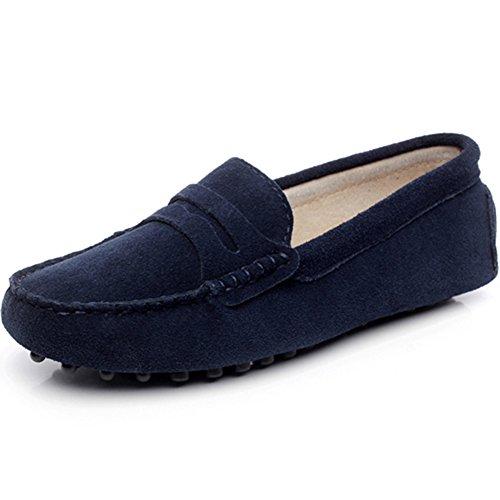 Jamron Femmes Classique Daim Penny Loafers Confortable Fait Main Pantoufle Mocassins Bleu Marin 24208 EU38