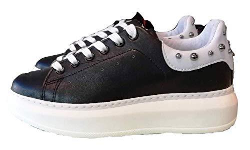 Vitamina tu TU Scarpe Sneakers Donna MOD Gaeta Borchie Nero/Bianco Made in Italy (37 EU)