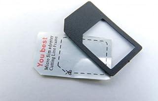 MicroSIM Adapter mit eingebauter Halterung, sicheres einlegen ohne Klebefixierung (Farbe: Schwarz) für iPhone 4+iPad Micro SIM Karten zur Verwendung als normale SIM Karte