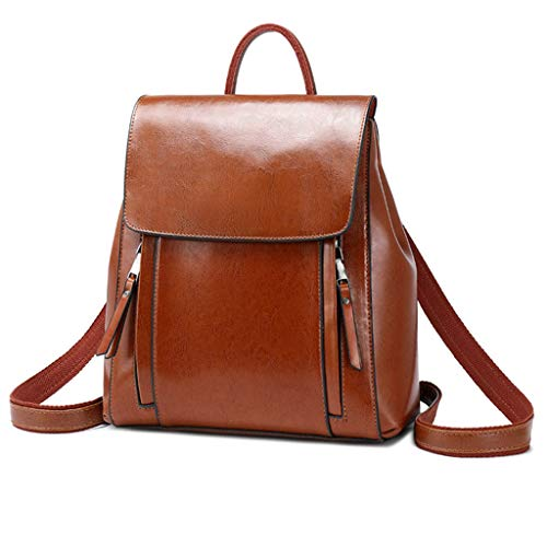 Generic Vintage PU Leather Backpack School Travel Daypack Student Bags for Teenager Brown