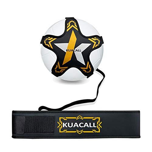 KUACALL Fußball Kick Trainer, Fußball Training Aid Hands Free Solo Praxis Soccer Trainer Fußball Fähigkeiten Verbesserung Fußball Training Ausrüstung mit Verstellbar Belt Elastikseil (Gelb)