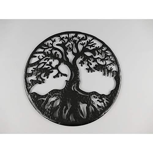 Gr Wanddeko Baum mit Wurzel Wandbild Hauswand Deko Wand Bild Metall Blech schwarz ca. 54cm