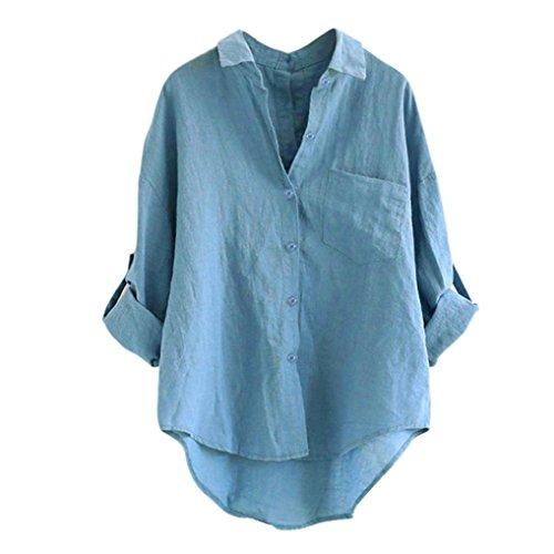 Blusen dames lente zomer lange mouwen tuniek revers linnen blouse effen kleuren elegante feestelijke mode lichte jongens casual button shirts bovenstuk