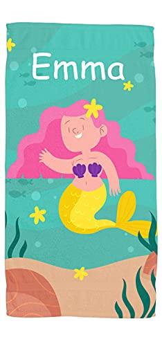 Toallas de Playa o Ducha Personalizadas con Nombre o Frases. Toallas Infantiles para niño y niña (Unisex). Regalo Infantil Original para baño, Piscina, Playa, Camping. Varias Medidas (Sirenita)