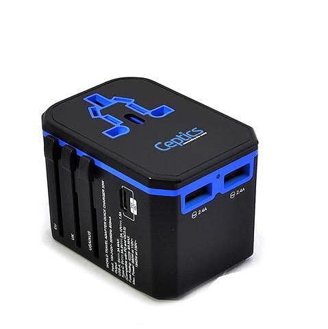 International Power Adapter, Ceptics World Travel USB Type C QC 3.0 18W PD Plug Adaptor Kit - 3 USB Ports Wall Charger Type I C G A Outlets 110V 220V A/C - 5V D/C - EU Euro US UK - All in One
