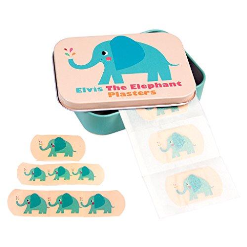 Kinderpflaster in schöner Aufbewahrungsdose für die Wickeltasche Handtasche Schulzanzen oder Kindergartentasche I 30 Pflaster I Motiv (Elvis Elefant)