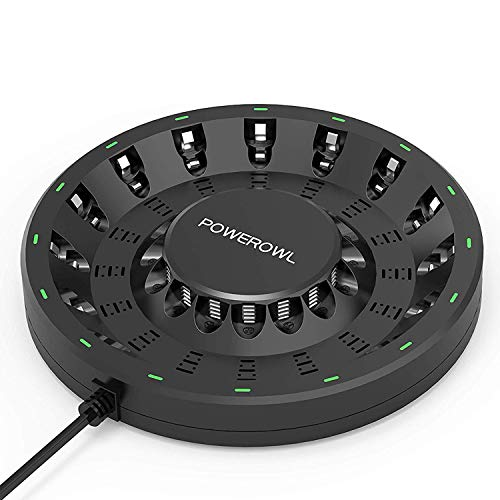 POWEROWL 16 Bay AA AAA Battery Charger (Updated, High Speed Charging) with Smart LED Light and Plug, for NIMH NICD Rechargeable Batteries and More