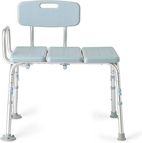 Medline Tub Transfer Bench With Microban Antimicrobial Protection, for Use as A Shower Bench or Bath Seat, Light Blue