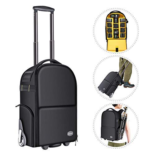 Neewer 2-in-1 Camera Backpack Luggage Trolley Case with Double Bar, Anti-Shock Detachable Padded Compartment, Hidden Pull Bar and Strap, Waterproof for DSLR Cameras, Tripod, Lens for Air Travelling