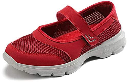 [BaHar] ナースシューズ レディース 安全靴 婦人靴 カジュアルシューズ ウォーキングシューズ 厚底スニーカー 大きいサイズ マジックテープ 看護師 超軽量 通気 歩きやすい 履きやすい 病院22.5cm-26.0cm (レッドA, measurem