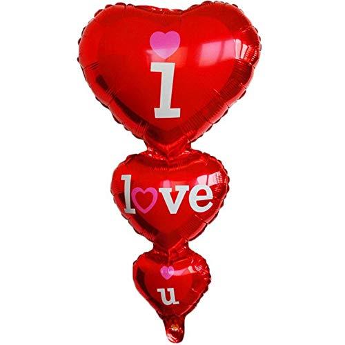 DIWULI, gigantischer XXL I Love U Luftballon, Herz-Ballon, Herzluftballon rot, Herzfolienballon, Folien-Luftballon Herzform, Folien-Ballons für Geburtstag, Hochzeit, Verlobung, Dekoration, Liebe, Love