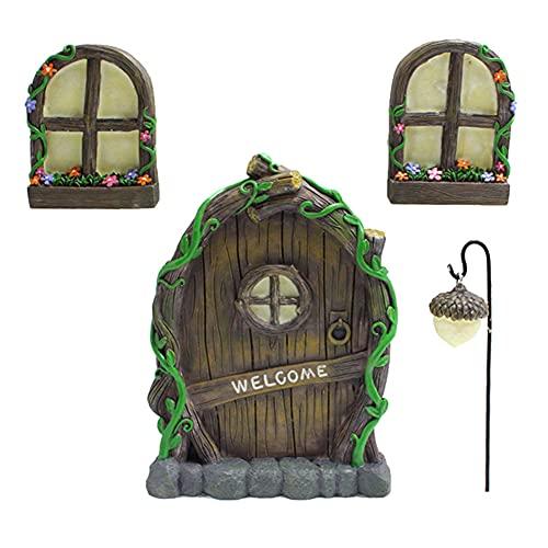 Exnemel 4 Piezas Puerta y Ventanas de Hadas para árboles, Puertas y Ventanas para Dormir de Hadas Que Brillan en la Oscuridad con lámpara de Basura, decoración de esculturas de Arte para Jardines (A)