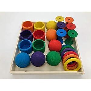 Neu Kreativ Set Montessori Kleinkind Baby Waldorf Pikler Spielzeug Holz Öko Natur Holzspielzeug Regenbogenfarben…