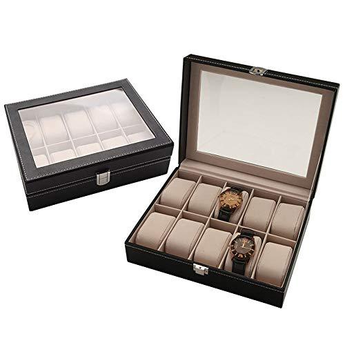 10 Slot Leder Uhrenbox Vitrine Uhren Aufbewahrung für Männer Vatertagsgeschenk
