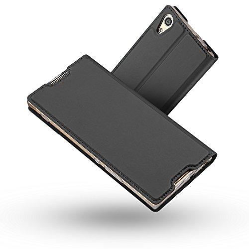 Radoo Sony Xperia XA1 Hülle, Premium PU Leder Handyhülle Brieftasche-Stil Magnetisch Folio Flip Klapphülle Etui Brieftasche Hülle Schutzhülle Tasche Hülle Cover für Sony Xperia XA1 (Schwarz grau)