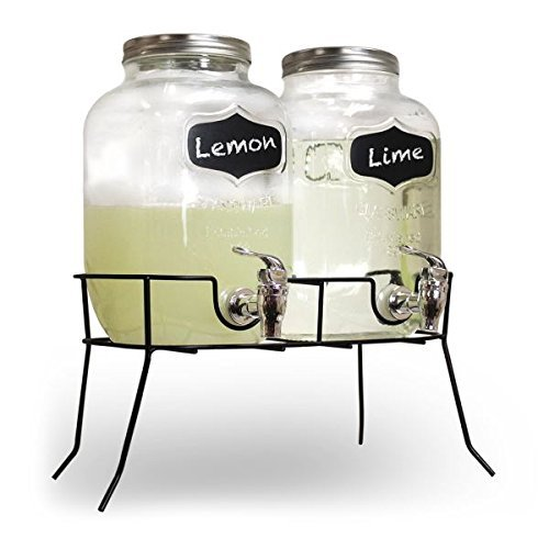 SHINE Distribuidor DE Bebidas Dobles 8L- Vidrio Mason Jar Home Party Picnic Barbacoa DE Jardin