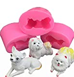 YXXJ 3D-Dog-Kerze-Form Small Size Cute Pet-Silikon-Form für Fondant