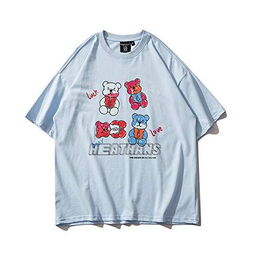 DREAMING-Una Sudadera de Verano de Manga Corta con Camiseta Suelta de algodón de Cuello Redondo Estampada en la Parte Superior para Hombres y Mujeres, Camisa para Parejas, M