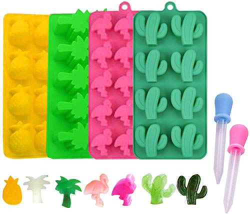 Candy Molds Ice Cube Trays Chocolate Molds, Silicone Molds Including Cactus, Flamingo, Coconut Tree & Pineapple for Making Ice, Jelly, Chocolate, Soap, Pack of 4 with 2 Droppers. (Multicolor)