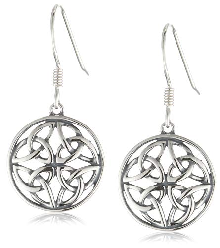 Sterling Silver Oxidized Celtic Knot Round Drop Earrings