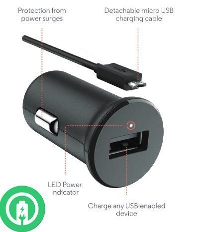 Turbo Fast Powered 15W Alcatel OneTouch IDOL 3C SmartPhone Car Charger with Detachable Hi-Power MicroUSB Cable!