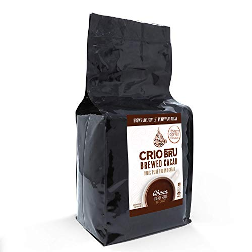 Crio Bru Ghana French Roast 10 oz Bag   Natural Healthy Brewed Cacao Drink   Great Substitute to Herbal Tea and Coffee   99% Caffeine Free Gluten Free Low Calorie Honest Energy
