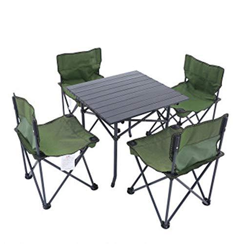 ZFLL Tafel en stoelen, inklapbaar, picknick, tafelstoel, opvouwbaar, buiten, camping, van aluminiumlegering, picknicktafel, waterdicht, Oxford-stof, duurzaam, opvouwbaar, kantoor