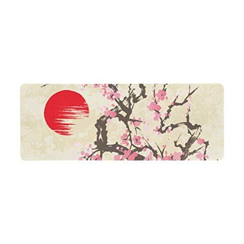 InterestPrint Soft Extra Extended Large Gaming Mouse Pad with Stitched Edges, Desk Pad Keyboard Mat, 31.5 x 12In - Spring Cherry Blossom with Butterflies in Traditional Japanese sumi-e Style