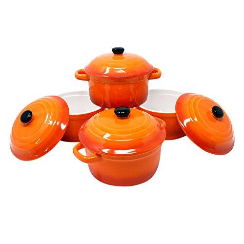 ToCi Auflaufschalen mit Deckel | Mini Ofenformen aus Keramik 200 ml | Runde Förmchen Ø 10 x 5 cm | Farbe: Orange im 4er-Set